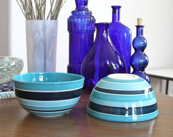 SALE Modern Striped Ceramic Bowl Blue Porcelain