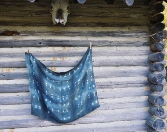Gorgeous large silk wool shibori dyed scarf