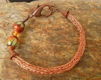 Copper Lampwork Viking Knit Bracelet, SRA Artisan Handmade