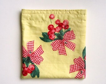 Reusable Snack Bag, Sandwich Bag in Fresh Cherries, Waste Free Lunch Bag, Summer lunch, gift for her, for kids