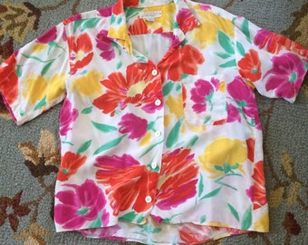 Vintage lord and Taylor vibrant flowers blouse
