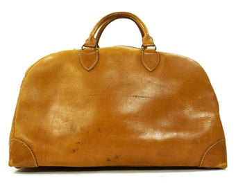 60s BIG Leather Doctor Bag / Vintage 1960s Leather Travel Satchel / Heavy Duty Boho Steampunk Weekender Travel Carry On Tote Bag