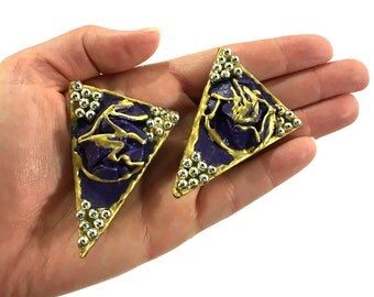 "BIG 80s New Wave Earrings / 2.5"" Vintage 1980s Handmade Paper Sculpture Trianglular Avant Garde Oversized Sculptural Artsy Geometric / Clip"
