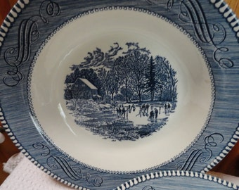Currier and ives Blue Print Large Soup or Vegetable, or Salad Bowls