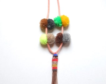 Wool necklace with pompoms, textile jewellery, fabric necklace, one of a kind, long  necklace, for her, eco-friendly, gift, playful, tribal