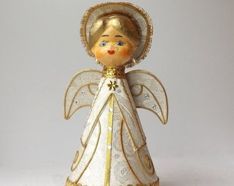 Vintage Paper Mache Angel Music Box, Revolving, Plays Silent Night, Mid Century Christmas Decoration, Made in Japan