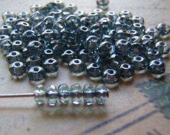 Blue Lumi Faceted Rondelle Beads 2.5 X 4 mm TINY 20 Beads Accent Beads Spacer Beads