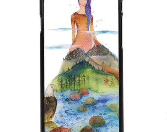 "Phone Case ""The Vale - Watercolor Art Giclee Mountain Lady Print Eagle American Phone Case Protection By Olga Cuttell"