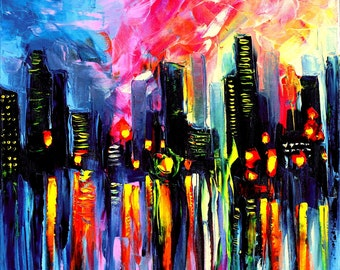 Abstract Painting - City Painting - Impasto Oil Painting - Abstract City - Cityscape art by Aja - Faces of the City 161 24x24 inches