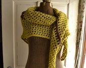 Crochet Shawl Triangle Scarf Green Brown Retro V Shawl