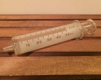 Vintage mayfair surgical glass syringe 50cc