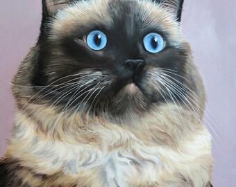 Custom Pet Portrait Pet Painting 11x14 Your Cat Dog Horse Art by Sharon Lamb
