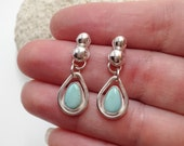 Turquoise Earrings, Artisan Metalsmith Rain Drops, Sterling Silver Hoops Stone Dangle, Handcrafted Silversmith Earrings, Bohemian Boho Chic