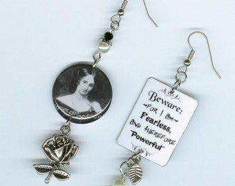 Mary Shelley Quote Earrings - Frankenstein quotation rose - asymmetrical mismatched earring jewelry - literary gift book lovers readers