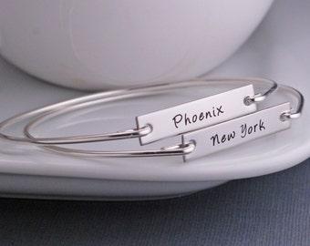 Personalized City Bracelet, Hometown City Jewelry, Silver Bracelet, New York, Chicago Bracelet, Marathon Bangle