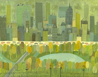 Central Park at Fifth Avenue.  Limited edition print by Matte Stephens.