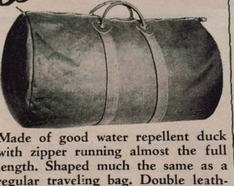 Rare 60s Vintage Ad Bean's Duffle Bag LL Bean Freeport Maine Canvas Duck 1963