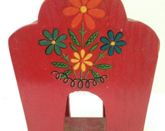 Vintage Red Tole Paint Wooden Napkin Holder Flowers Mid Century Retro Kitchen