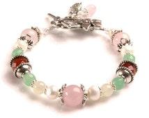 JUNO Fertility Bracelet with Rose Quartz, Moonstone, Carnelian, Green Aventurine, Pearls, Crystals- great pregnancy bracelet, TTC,IUI gift