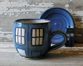 Retro Police Box Coffee Cup -  Doctor Who Mug - Handmade Mug - Retro Style Tea Cup