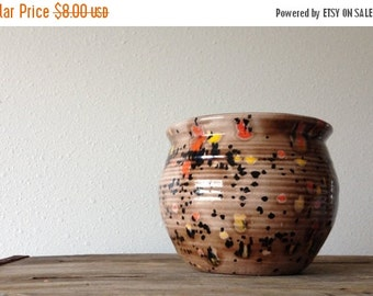 sale vintage handmade planter vessel / cocoa brown with black orange and yellow splatter glaze / ribbed texture / retro home decor / storage