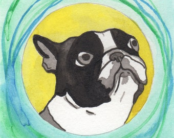 Boston Terrier Art Decor, Boston Terrier Gifts,Miniature Art,Funny Animal Art Illustration,Dog Lover Gift,Whimsical Modern Folk Art Painting
