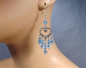 Prom Earrings Aqua Chandelier Earrings Swarovski Crystal Earrings Blue Earrings Wedding Earrings Sparkly Earrings Dangly Earrings