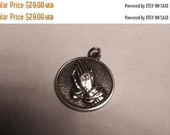 SALE TODAY Vintage 1950s Solid Sterling Silver Praying Hands Religious Medal Pendant