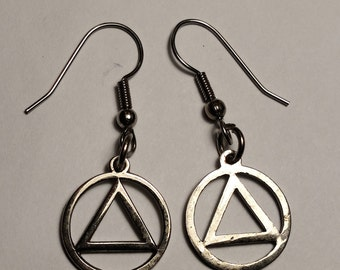 Vintage Silver Tone AA Alcoholics Anonymous Triangle Circle Symbol Drop Pierce Earrings 12 Step