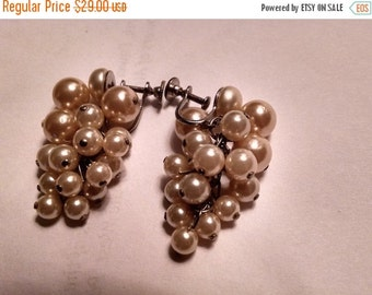 SALE TODAY 1950s Burlesque Long Luster Costume Pearl Bead Earrings Chandelier Wedding Bride Prom Silver Screwback