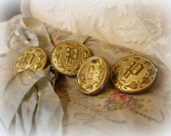 4 vintage brass uniform buttons 3 P for Police + 1 AG made by waterbury button co connecticut