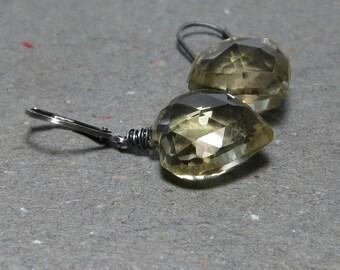 Lemon Topaz Earrings November Birthstone Oxidized Sterling Silver Leverback Earrings Gift for Her