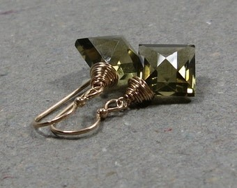 Olive Green Earrings Geometric Jewelry Green Quartz Diamond Shape Gold Earrings