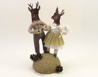 Vintage Style Spun Cotton Stag And Doe Deer Wedding Topper