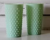 Jadeite Hobnail Vases
