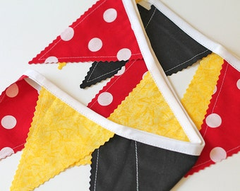 Red polka dot, black, Yellow Bunting Mouse party decoration. Fabric Banner. Photo prop 12 Pennant Birthday flags dessert table. mickey mouse