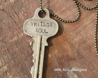 Key necklace-stamped key necklace-vintage key necklace engraved key necklace-word key necklace hand stamped key jewelry