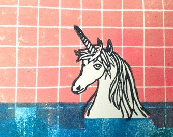 Bathing Unicorn - Original Linocut Print - LIMITED EDITION of 10 - 30x30cm