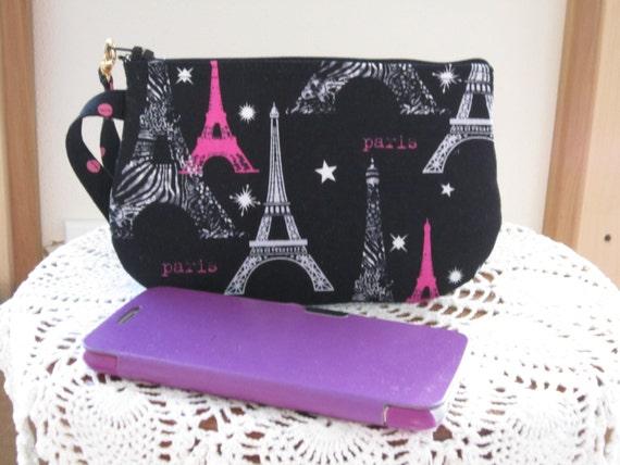 i love paris clutch wristlet zipper gadget pouch smart phone. Black Bedroom Furniture Sets. Home Design Ideas