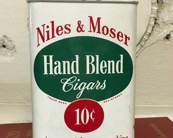 Vintage Niles and Moser Cigar Tin, Old Cigar tin,  Collectible, Tobacciana, Vintage, Cigars, Collector Tin, Tobacco, Smoking, red, green