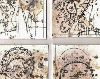 No. 3014, ACEO Set of 4 Art Cards
