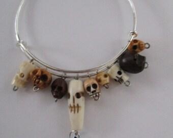 Day of the Dead Skulls Wire Dangle Bracelet