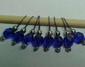 Cobalt Blue Stitch Markers - US 10 - Item No. 450