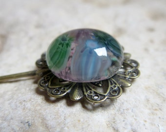 Stick Pin, Fused Glass and Filigree Long Stick Pin in Lilac and Green Millefiori - Handmade