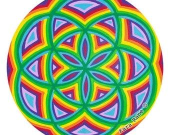 Cosmic Circle, Seed of Life, Rainbow, Mandala, Sacred Geometry, Window Cling, EcoFriendly, Better than Stickers, Meditation, SunCatcher, Art