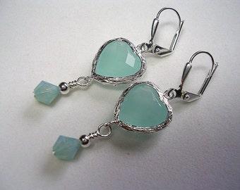 Pacific Opal Earrings Swarovski Crystal Silver Heart Earrings Wire Wrapped Leverback Hooks Blue Green Earrings Ocean Seaside Gifts under 5