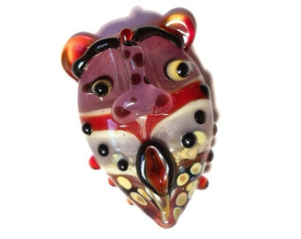 Purple & Red mask pendant, Lampwork necklace, Glass Bead Lampwork handmade lamp work pendant, amulet, face totem, focal bead, glassbead