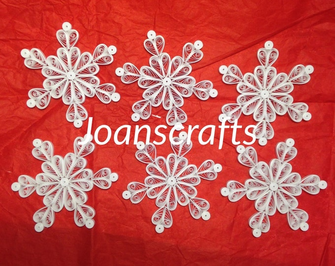 Set of six Holiday Quilled Snowflakes