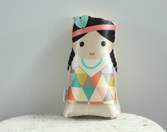 Satin Doll Native American Girl Indian Modern Hipster Room Decor stuffed plush baby gift toddler toy birthday present by PETUNIAS