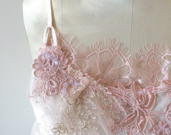 Blush Ruffles + Lace SALE. One of a Kind Lace Ruffle Lingerie Slip Top